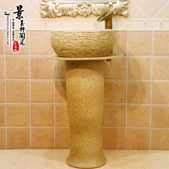 JingYuXuan ceramic art basin stage basin pillar lavabo three - piece frosted stage basin waist drum of rain flower stones