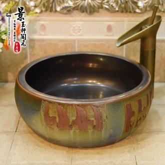 Jingdezhen ceramic lavatory basin stage basin art variable waist drum, bronze lettering the sink basin