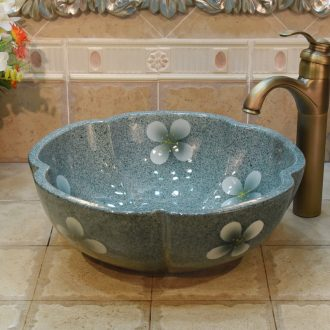 Jingdezhen ceramic lavatory basin basin art stage torx basin of green and blue cherry blossoms
