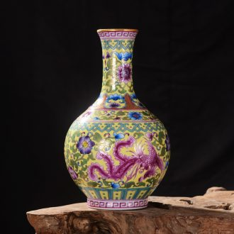 Jingdezhen ceramics high-end antique qianlong pastel double phoenix vase household adornment mei bottle process sitting room furnishing articles