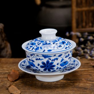 Folk artists of jingdezhen ceramic hand-painted only three tureen kung fu tea set finger bowl and tea cups
