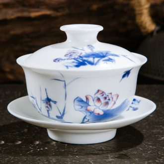 Jingdezhen ceramic tureen kung fu tea tea cups three bowl of blue and white worship hand grasp bowl is small cups