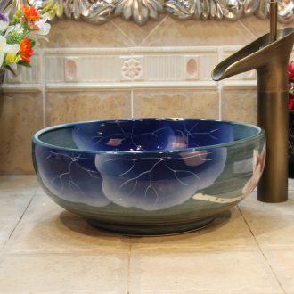 Jingdezhen ceramic lavatory trumpet 34 cm blue lotus leaves the stage basin, art basin sink the pool that wash a face
