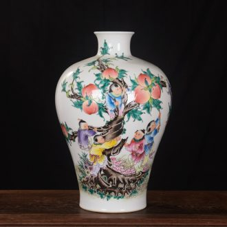 Jingdezhen ceramics high-end antique qianlong pastel peach vase household adornment mei bottle process sitting room furnishing articles
