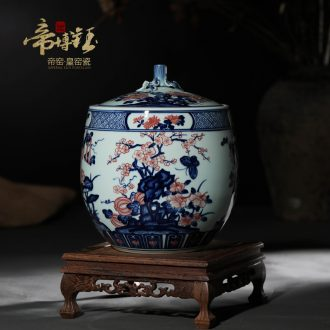 Jingdezhen ceramic storage tank lid tank high-grade hand-painted porcelain youligong red flower butterfly caddy ornament