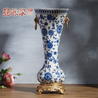 Murphy 's new Chinese style restoring ancient ways with copper of blue and white porcelain ceramic vase sitting room home decoration flower arranging, furnishing articles