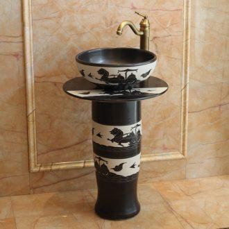 Jingdezhen balcony column basin floor hotel toilet lavabo European archaize ceramic bathroom the pool that wash a face