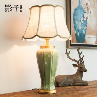 Full copper ceramic desk lamp American sitting room bedroom berth lamp of new Chinese contracted and I European study desk lamp, 1079