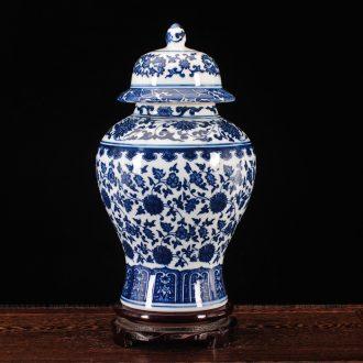 Jingdezhen ceramic ware antique blue and white TV ark, general tank storage tank handicraft furnishing articles furnishing articles vase