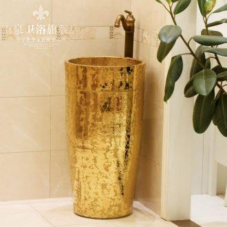 Jingdezhen ceramic art basin pillar basin sink basin floor type lavatory basin integrated device of the column