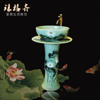 Ceramic art the sink basin integrated balcony floor pillar pillar type lavatory toilet basin to column