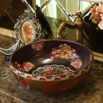 Jingdezhen ceramic basin sinks art on the new stage basin sink black antique lotus - shaped clouds