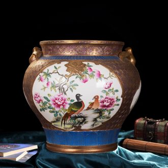High-end antique jingdezhen ceramics powder enamel paint blooming flowers sitting room place vase household adornment process