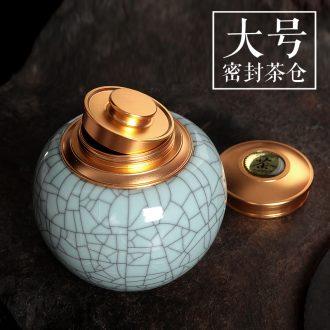Tea pu 'er Tea as cans ceramic metal portable household longquan celadon seal large caddy fixings ceramic pot
