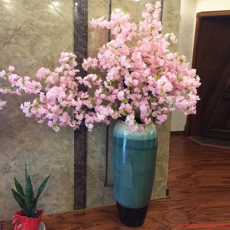 Jingdezhen ceramics maxim big yellow vase furnishing articles of Chinese style sitting room ground adornment housewarming gift - 543535762058