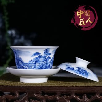 Jingdezhen only three bowls of tureen hand-painted ceramic blue large kung fu tea tea cup tea ceremony worship bowl of tea