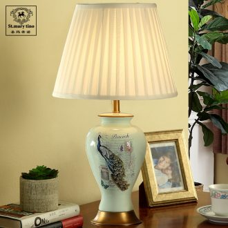 Santa marta tino blue peacock full copper ceramic American bedside lamp contracted sitting room desk lamp