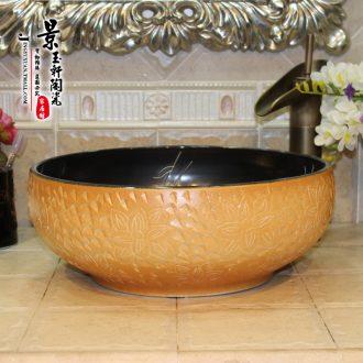 Jingdezhen ceramic lavatory basin basin art on the sink basin birdbath new black - yellow carve patterns or designs on woodwork