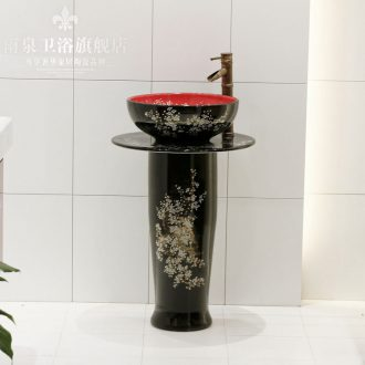 Jingdezhen art lavatory basin sink the lavatory basin the post column floor type exchanger with the ceramics basin conjoined
