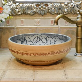 Jingdezhen ceramic art basin sanitary ware stage basin sinks within the basin that wash a face carved black waves