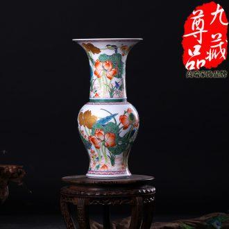 Jingdezhen ceramics imitation the qing emperor kangxi colorful lotus heron grain PND unit tail - on vase household adornment handicraft furnishing articles