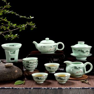 Qiu time celadon coloured drawing or pattern of household kung fu tea set ceramic tureen little teapot tea wash with a complete set of tea cups