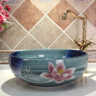 Jingdezhen ceramic lavatory basin basin art on the sink basin up with glaze color lotus much money