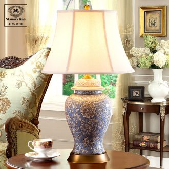 Santa marta tino european-style ceramics full copper cloth lamp ikea sitting room lamp study bedroom berth lamp package mail