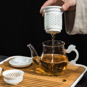 Glass teapot with thick hot tea with ceramic filter tank bonus linglong cup teapot kung fu tea