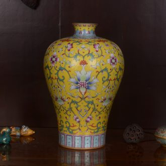 Jingdezhen ceramics high-grade hand-painted archaize end of qianlong emperor huang mei bottle vase home decoration craft furnishing articles in the living room