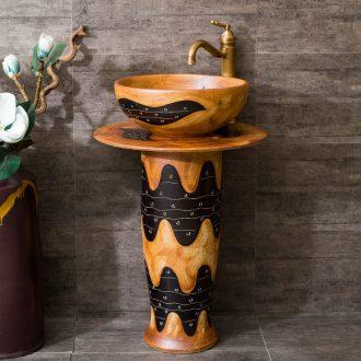 Jingdezhen art lavatory basin sink lavatory basin the post column ceramics basin conjoined wavy lines