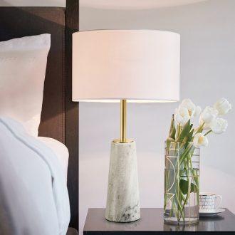 Nordic light bedroom key-2 luxury wind lamp postmodern contracted sitting room European - style originality hotel ceramic marble bedside lamp