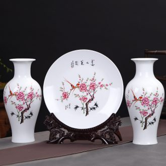 Jingdezhen ceramics peach blossom put water point three - piece vase furnishing articles large Chinese rich ancient frame sitting room adornment