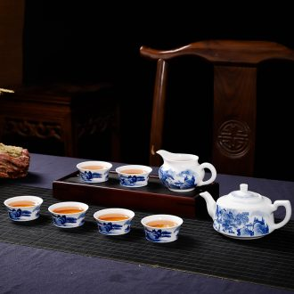 Blue and white tea set group of jingdezhen porcelain pure manual single hand-painted kung fu tea set reasonable teapot tea cup