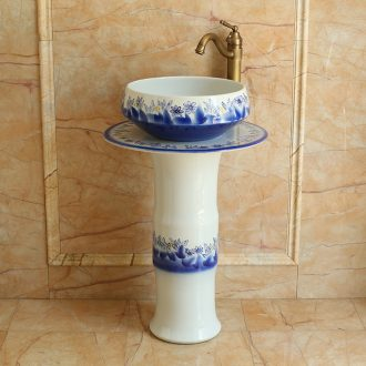 Jingdezhen ceramic column basin bathroom one lavatory floor I and contracted Europe type balcony sink