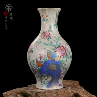 Jingdezhen ceramic vase high-end antique qianlong powder enamel golden pheasant tail bottle home decoration crafts
