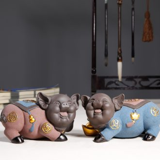 "JiaXin see colour sand tao qian ""get lucky pig furnishing articles and originality of the ceramics holiday gift blessing pig"