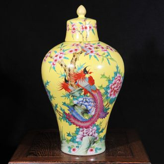 Jingdezhen ceramics antique hand - made yellow to golden pheasant with cover mei bottles of classical modern home act the role ofing is tasted furnishing articles in the living room