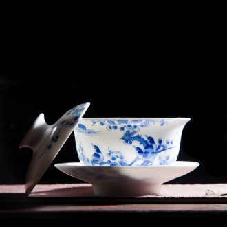 Jingdezhen ceramic tureen blue and white only three cups of tea cup bowl time finger bowl of tea set in a bowl