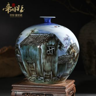 Master of jingdezhen ceramics hand-painted pastel blue lake town pomegranate bottles of modern home decoration handicraft furnishing articles