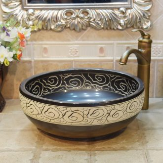 Jingdezhen ceramic lavatory basin basin art on the sink basin basin carved matte enrolled black clouds