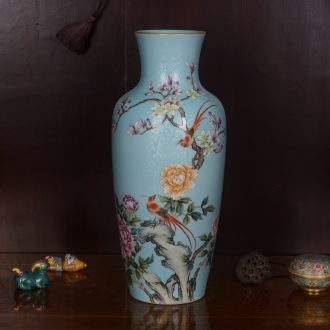 Jingdezhen ceramics high-grade hand-painted archaize qianlong blue tail vase household adornment process sitting room furnishing articles