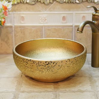 Jingdezhen ceramic basin of bath lavatory basin stage art basin sink gold - plated flower small size 35 cm