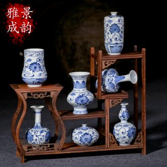 Jingdezhen ceramic hand - made floret bottle furnishing articles mini decorative art flower arranging flowers in new Chinese style household tea table