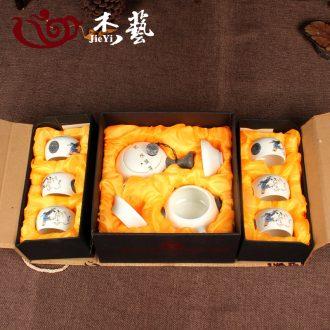 Characteristics of snowflakes glaze 10 head of tea set a complete set of kung fu tea set ceramic gift set tea gift boxes on sale