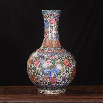 Jingdezhen ceramics high-end antique gold kirin qianlong vase household adornment design process sitting room furnishing articles