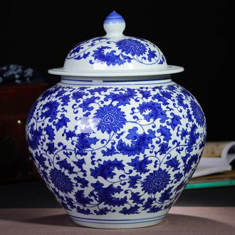 Jingdezhen blue and white ceramics with large POTS sealed puer tea caddy fixings receives the jar medium