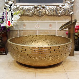 Jingdezhen ceramic lavatory basin basin art on the sink basin birdbath gold - plated wall of carve patterns or designs on woodwork