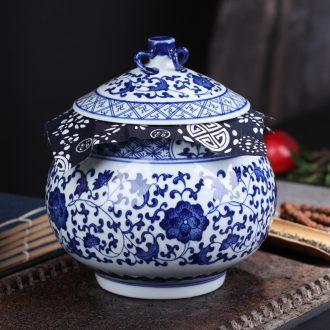 Jingdezhen ceramics in pu 'er tea pot of gift box packaging, receives seven loaves moistureproof general sealed jar of restoring ancient ways