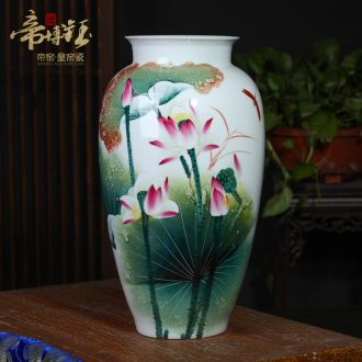 Jingdezhen ceramics hu master all hand-painted famille rose fragrant lotus vase home sitting room adornment is placed